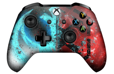 xbox one controller with jedi sith in blue and red